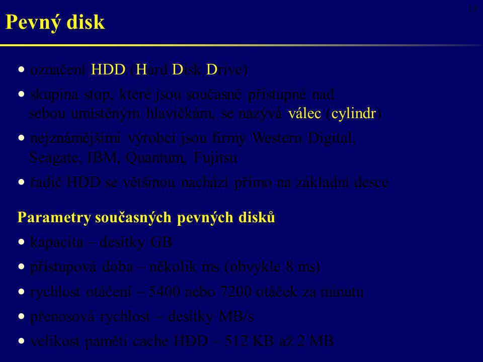 13 Pevný disk označení HDD (Hard Disk Drive) skupina stop, které jsou současně přístupné nad sebou umístěným hlavičkám, se nazývá válec (cylindr) nejz