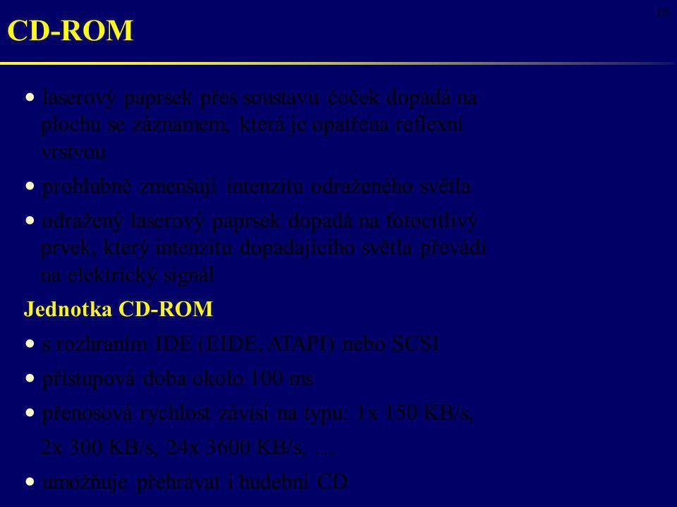 16 CD-ROM laserový paprsek přes soustavu čoček dopadá na plochu se záznamem, která je opatřena reflexní vrstvou prohlubně zmenšují intenzitu odraženéh