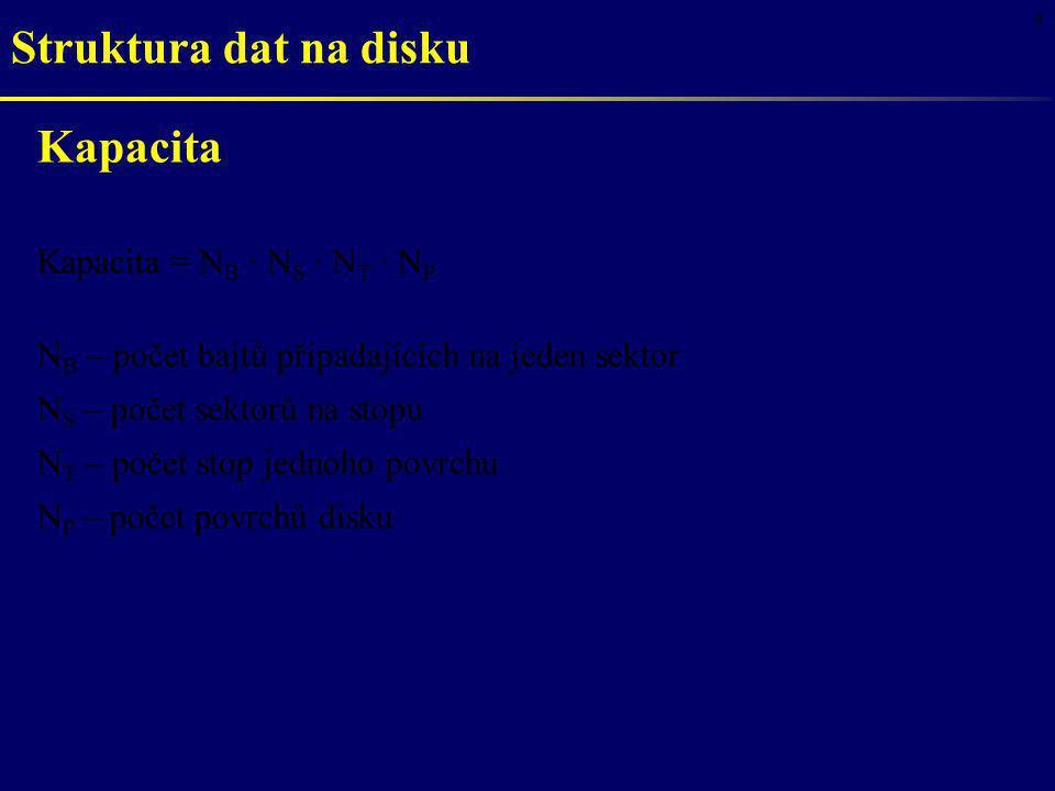 4 Struktura dat na disku Kapacita Kapacita = N B · N S · N T · N P N B – počet bajtů připadajících na jeden sektor N S – počet sektorů na stopu N T –