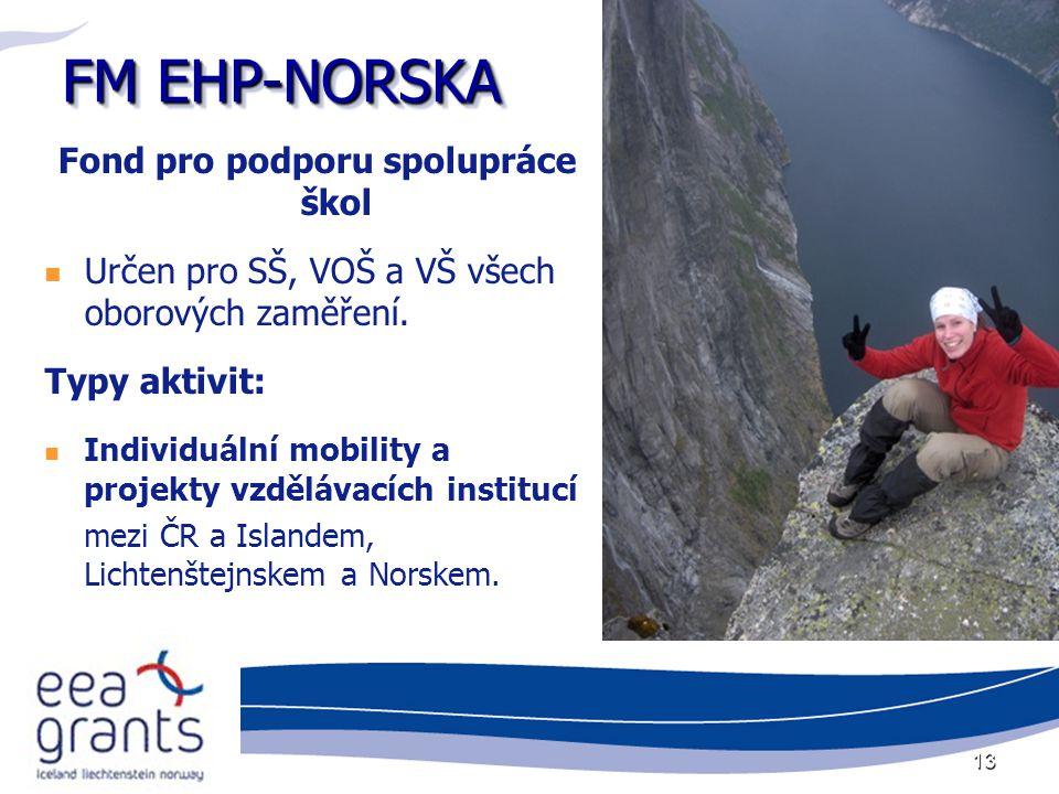 13 FM EHP-NORSKA Fond pro podporu spolupráce škol Určen pro SŠ, VOŠ a VŠ všech oborových zaměření. Typy aktivit: Individuální mobility a projekty vzdě