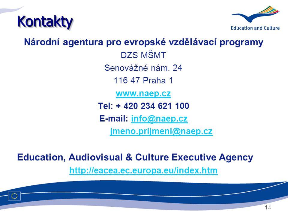 14 KontaktyKontakty Národní agentura pro evropské vzdělávací programy DZS MŠMT Senovážné nám. 24 116 47 Praha 1 www.naep.cz Tel: + 420 234 621 100 E-m
