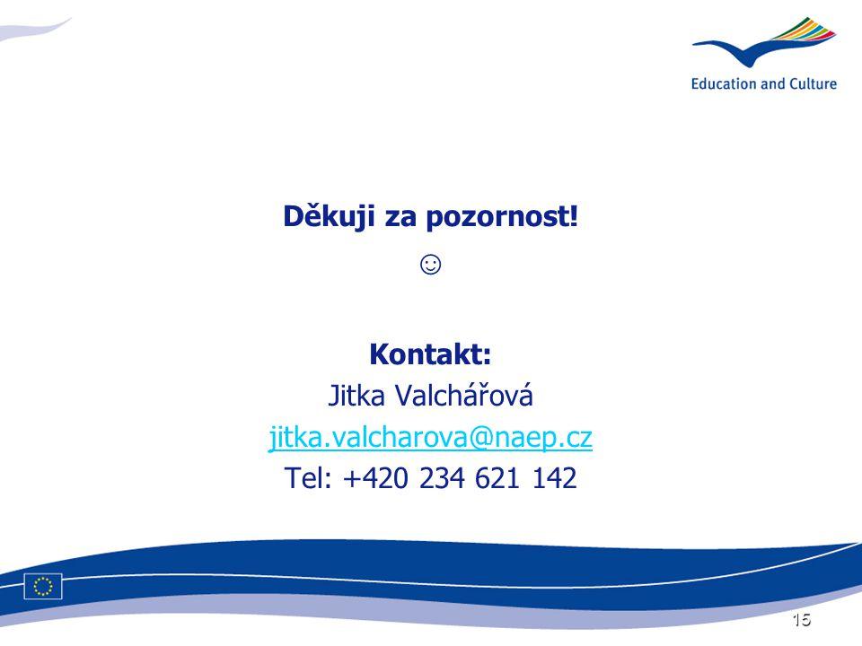 15 Děkuji za pozornost! ☺ Kontakt: Jitka Valchářová jitka.valcharova@naep.cz Tel: +420 234 621 142