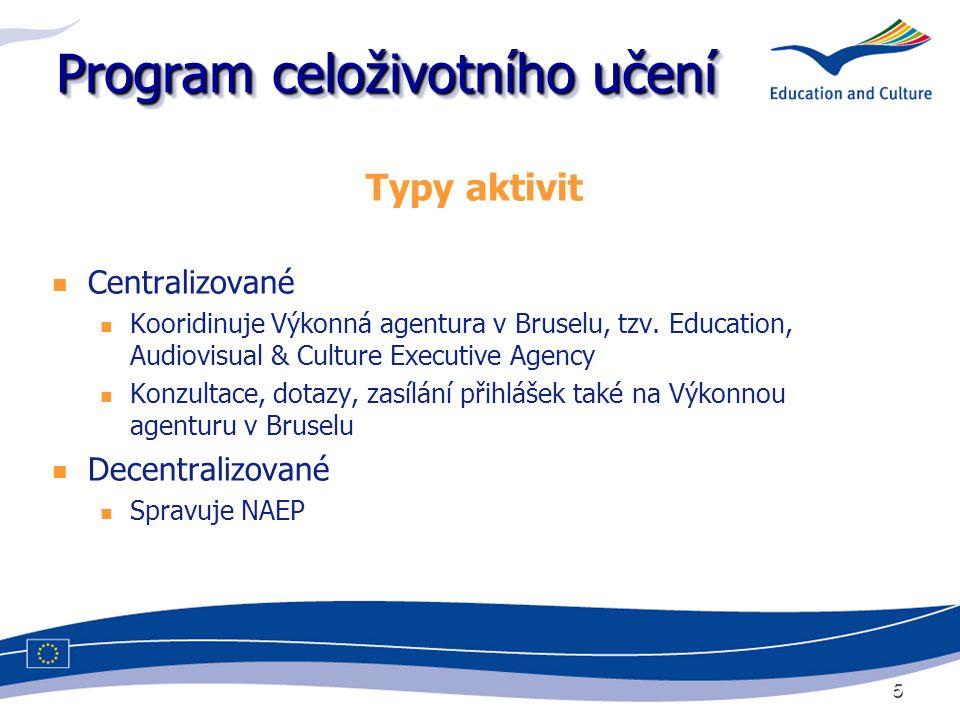 5 Program celoživotního učení Typy aktivit Centralizované Kooridinuje Výkonná agentura v Bruselu, tzv. Education, Audiovisual & Culture Executive Agen