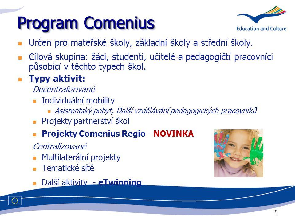 6 Program Comenius Určen pro mateřské školy, základní školy a střední školy. Cílová skupina: žáci, studenti, učitelé a pedagogičtí pracovníci působící