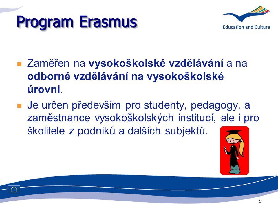 8 Program Erasmus Zaměřen na vysokoškolské vzdělávání a na odborné vzdělávání na vysokoškolské úrovni. Je určen především pro studenty, pedagogy, a za