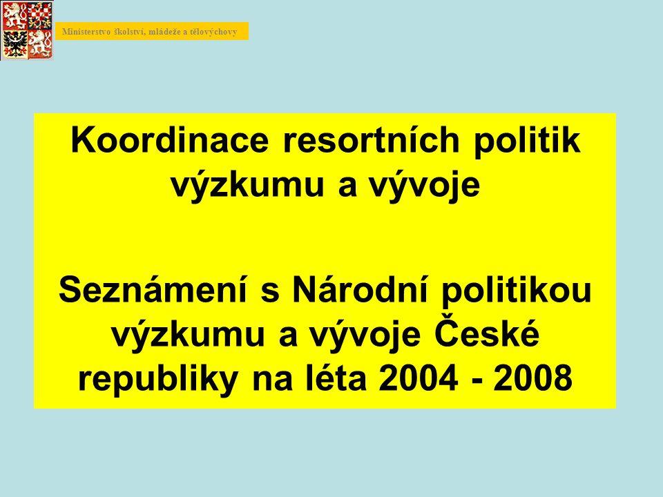 Koordinace resortních politik výzkumu a vývoje Seznámení s Národní politikou výzkumu a vývoje České republiky na léta 2004 - 2008 Ministerstvo školství, mládeže a tělovýchovy