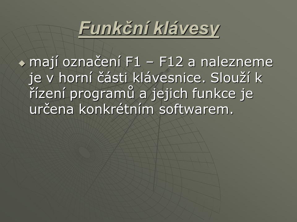 Funkční klávesy  mají označení F1 – F12 a nalezneme je v horní části klávesnice. Slouží k řízení programů a jejich funkce je určena konkrétním softwa