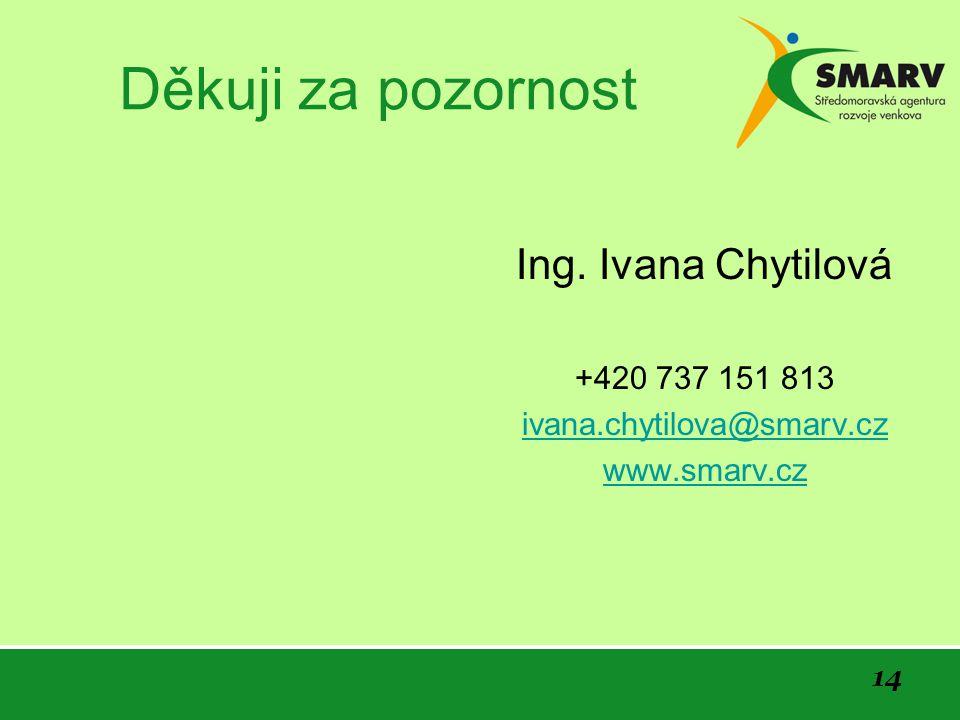 14 Děkuji za pozornost Ing. Ivana Chytilová +420 737 151 813 ivana.chytilova@smarv.cz www.smarv.cz