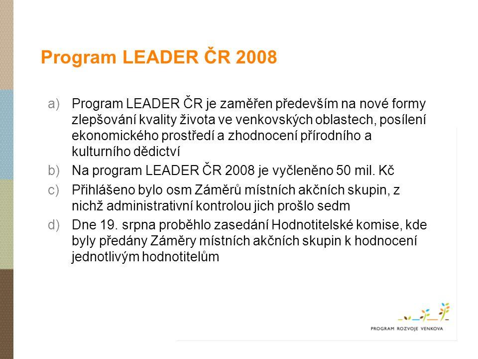 Program LEADER ČR 2008 a)Program LEADER ČR je zaměřen především na nové formy zlepšování kvality života ve venkovských oblastech, posílení ekonomickéh