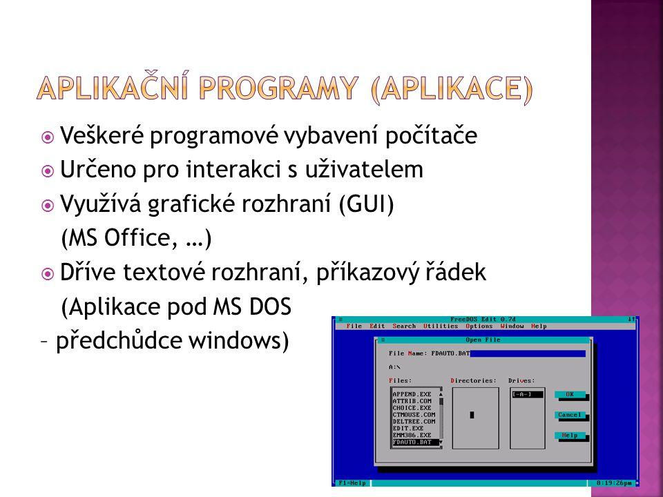  Veškeré programové vybavení počítače  Určeno pro interakci s uživatelem  Využívá grafické rozhraní (GUI) (MS Office, …)  Dříve textové rozhraní, příkazový řádek (Aplikace pod MS DOS – předchůdce windows)