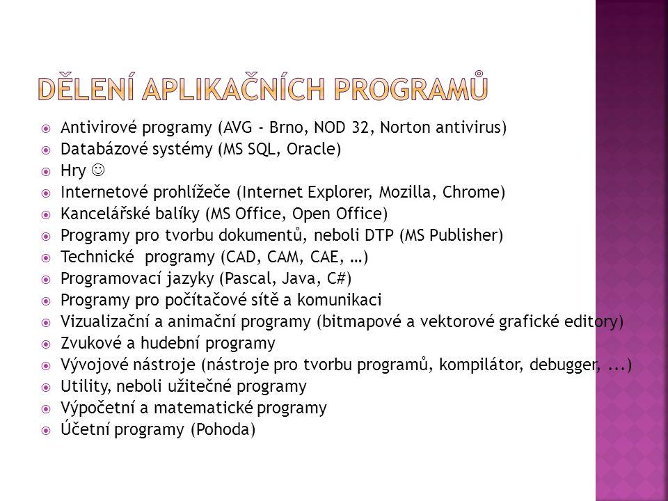  Antivirové programy (AVG - Brno, NOD 32, Norton antivirus)  Databázové systémy (MS SQL, Oracle)  Hry  Internetové prohlížeče (Internet Explorer, Mozilla, Chrome)  Kancelářské balíky (MS Office, Open Office)  Programy pro tvorbu dokumentů, neboli DTP (MS Publisher)  Technické programy (CAD, CAM, CAE, …)  Programovací jazyky (Pascal, Java, C#)  Programy pro počítačové sítě a komunikaci  Vizualizační a animační programy (bitmapové a vektorové grafické editory)  Zvukové a hudební programy  Vývojové nástroje (nástroje pro tvorbu programů, kompilátor, debugger,...)  Utility, neboli užitečné programy  Výpočetní a matematické programy  Účetní programy (Pohoda)