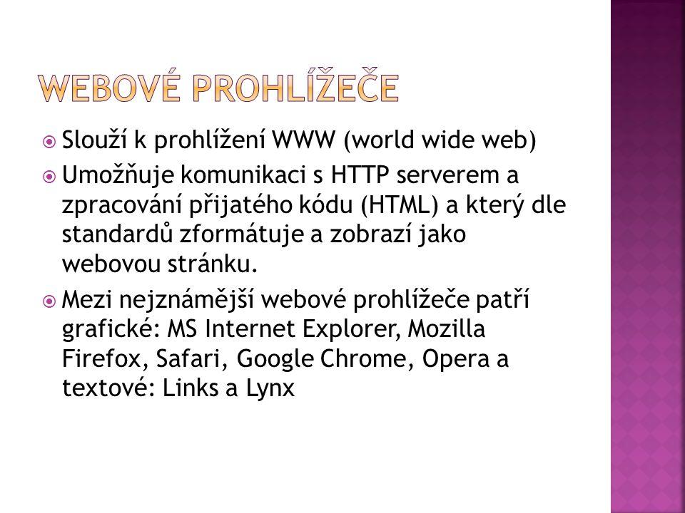  Slouží k prohlížení WWW (world wide web)  Umožňuje komunikaci s HTTP serverem a zpracování přijatého kódu (HTML) a který dle standardů zformátuje a zobrazí jako webovou stránku.
