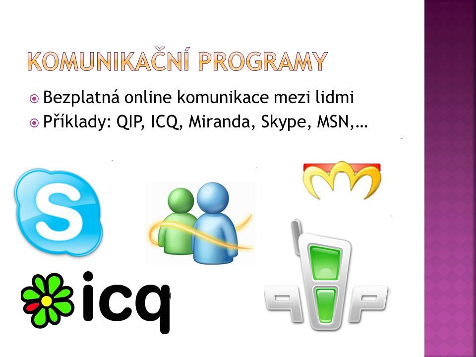  Bezplatná online komunikace mezi lidmi  Příklady: QIP, ICQ, Miranda, Skype, MSN,…