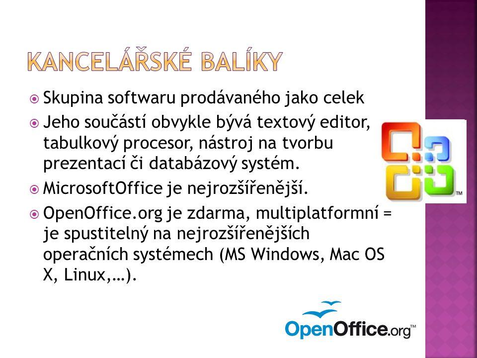  Skupina softwaru prodávaného jako celek  Jeho součástí obvykle bývá textový editor, tabulkový procesor, nástroj na tvorbu prezentací či databázový systém.
