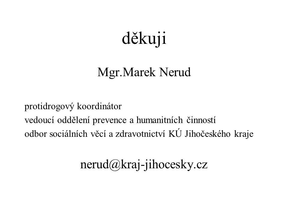 děkuji Mgr.Marek Nerud protidrogový koordinátor vedoucí oddělení prevence a humanitních činností odbor sociálních věcí a zdravotnictví KÚ Jihočeského