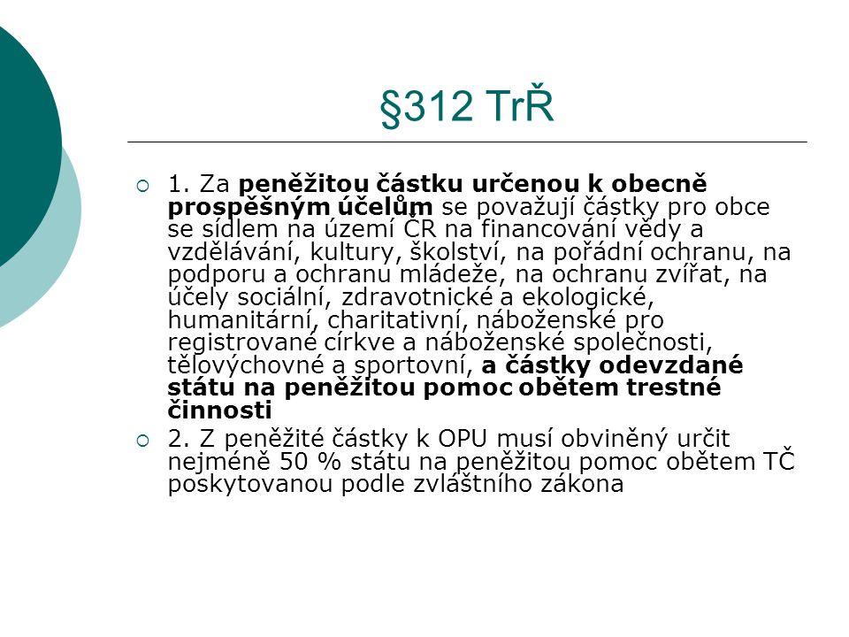 §312 TrŘ  1. Za peněžitou částku určenou k obecně prospěšným účelům se považují částky pro obce se sídlem na území ČR na financování vědy a vzděláván