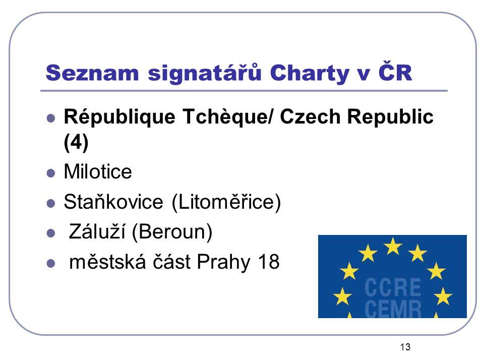 13 Seznam signatářů Charty v ČR République Tchèque/ Czech Republic (4) Milotice Staňkovice (Litoměřice) Záluží (Beroun) městská část Prahy 18