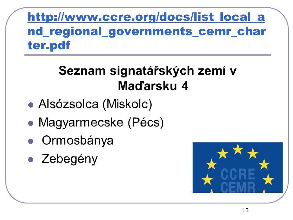 15 http://www.ccre.org/docs/list_local_a nd_regional_governments_cemr_char ter.pdf Seznam signatářských zemí v Maďarsku 4 Alsózsolca (Miskolc) Magyarmecske (Pécs) Ormosbánya Zebegény