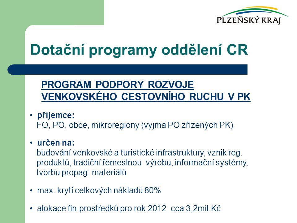 Dotační programy oddělení CR PROGRAM PODPORY ROZVOJE VENKOVSKÉHO CESTOVNÍHO RUCHU V PK příjemce: FO, PO, obce, mikroregiony (vyjma PO zřízených PK) určen na: budování venkovské a turistické infrastruktury, vznik reg.