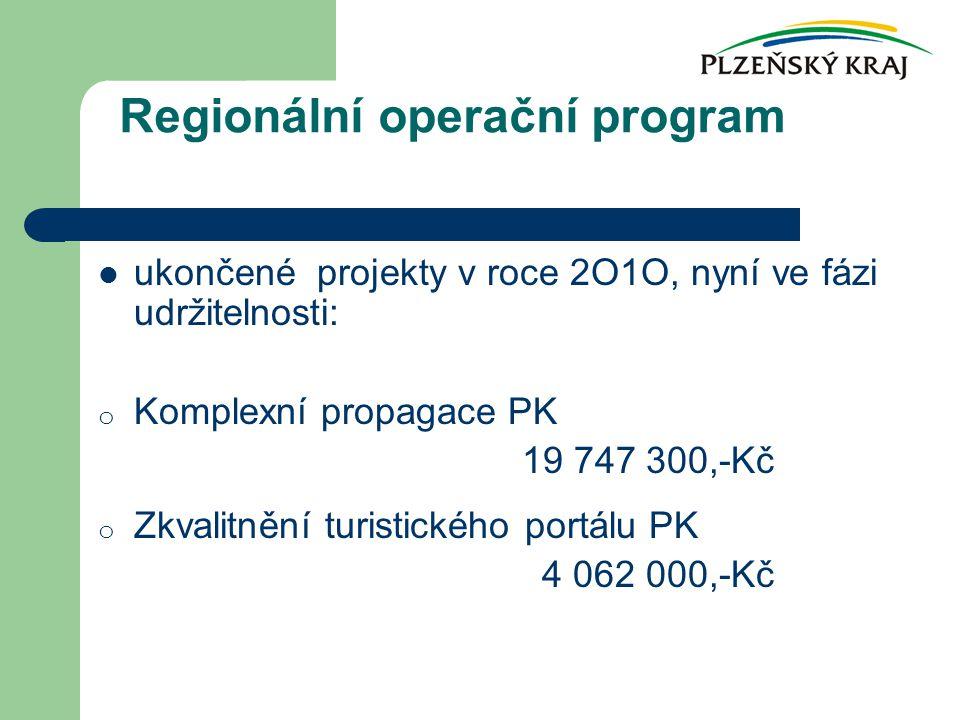 ukončené projekty v roce 2O1O, nyní ve fázi udržitelnosti: o Komplexní propagace PK 19 747 300,-Kč o Zkvalitnění turistického portálu PK 4 062 000,-Kč Regionální operační program