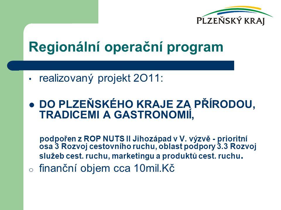realizovaný projekt 2O11: DO PLZEŇSKÉHO KRAJE ZA PŘÍRODOU, TRADICEMI A GASTRONOMIÍ, podpořen z ROP NUTS II Jihozápad v V.