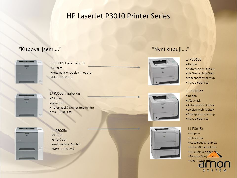 HP LaserJet P3010 Printer Series Kupoval jsem…. Nyní kupuji…. LJ P3005 base nebo d 33 ppm Automatický Duplex (model d) Max.