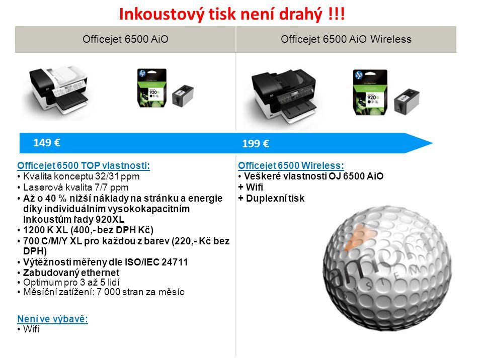 Officejet 6500 AiOOfficejet 6500 AiO Wireless Officejet 6500 TOP vlastnosti: Kvalita konceptu 32/31 ppm Laserová kvalita 7/7 ppm Až o 40 % nižší náklady na stránku a energie díky individuálním vysokokapacitním inkoustům řady 920XL 1200 K XL (400,- bez DPH Kč) 700 C/M/Y XL pro každou z barev (220,- Kč bez DPH) Výtěžnosti měřeny dle ISO/IEC 24711 Zabudovaný ethernet Optimum pro 3 až 5 lidí Měsíční zatížení: 7 000 stran za měsíc Není ve výbavě: Wifi Officejet 6500 Wireless: Veškeré vlastnosti OJ 6500 AiO + Wifi + Duplexní tisk 199 € 149 € Inkoustový tisk není drahý !!!