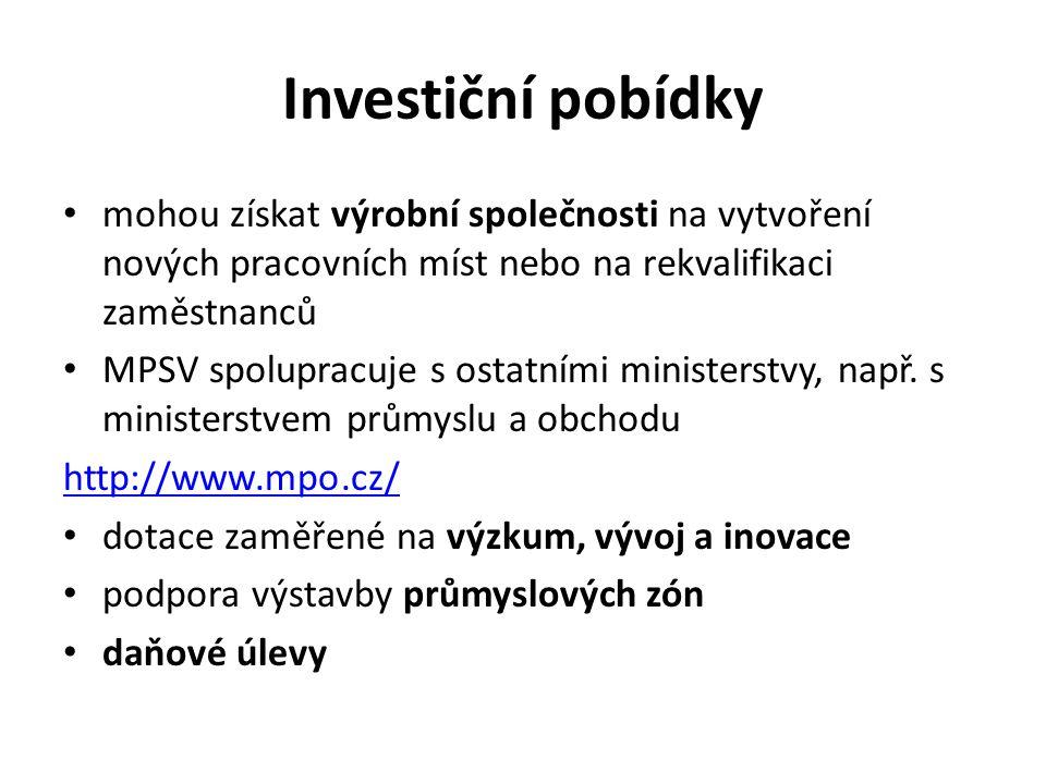 Investiční pobídky mohou získat výrobní společnosti na vytvoření nových pracovních míst nebo na rekvalifikaci zaměstnanců MPSV spolupracuje s ostatními ministerstvy, např.