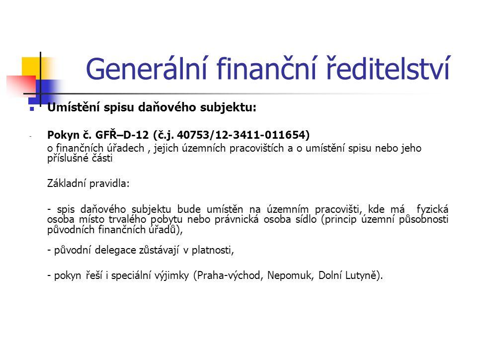 Generální finanční ředitelství Umístění spisu daňového subjektu: - Pokyn č. GFŘ–D-12 (č.j. 40753/12-3411-011654) o finančních úřadech, jejich územních