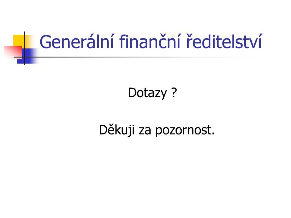Generální finanční ředitelství Dotazy ? Děkuji za pozornost.