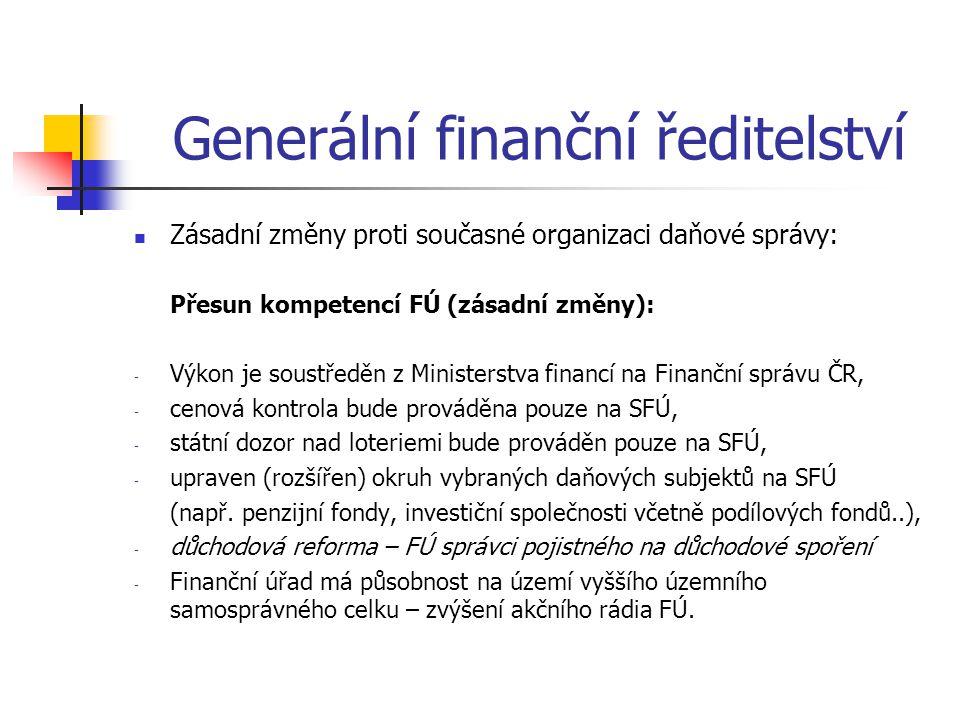 Generální finanční ředitelství Zásadní změny proti současné organizaci daňové správy: Přesun kompetencí FÚ (zásadní změny): - Výkon je soustředěn z Mi
