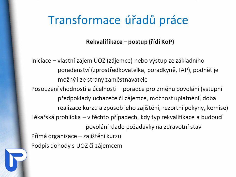 Transformace úřadů práce Rekvalifikace – postup (řídí KoP) Iniciace – vlastní zájem UOZ (zájemce) nebo výstup ze základního poradenství (zprostředkova