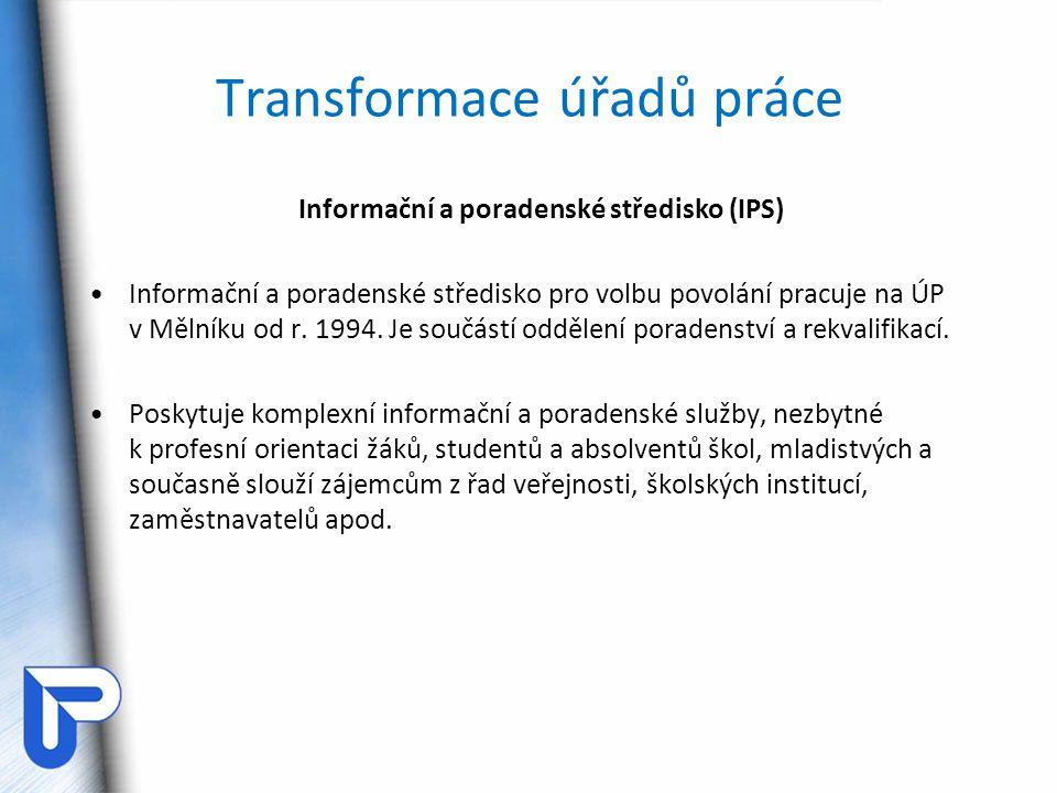 Transformace úřadů práce Informační a poradenské středisko (IPS) Informační a poradenské středisko pro volbu povolání pracuje na ÚP v Mělníku od r. 19