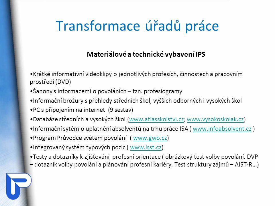 Transformace úřadů práce Materiálové a technické vybavení IPS Krátké informativní videoklipy o jednotlivých profesích, činnostech a pracovním prostřed