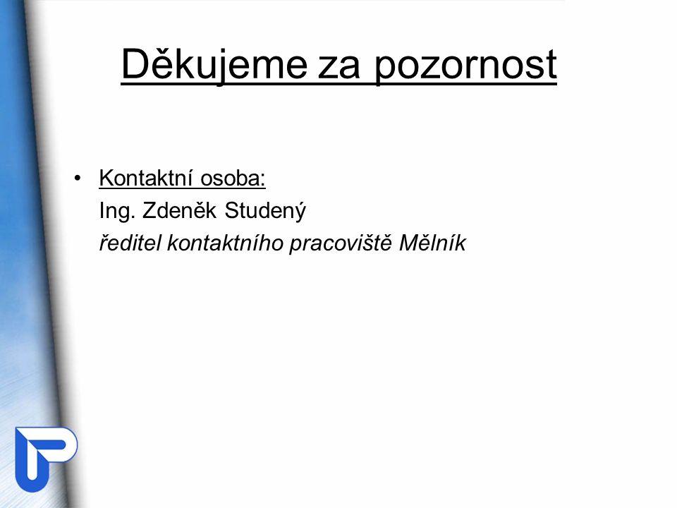 Děkujeme za pozornost Kontaktní osoba: Ing. Zdeněk Studený ředitel kontaktního pracoviště Mělník