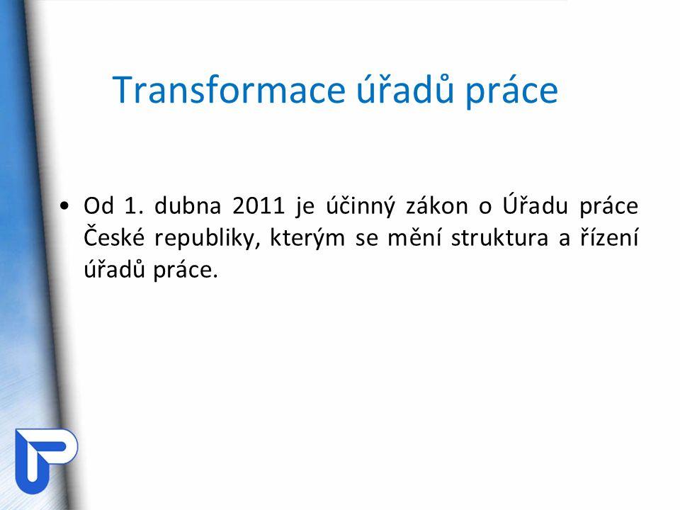 Transformace úřadů práce Od 1. dubna 2011 je účinný zákon o Úřadu práce České republiky, kterým se mění struktura a řízení úřadů práce.