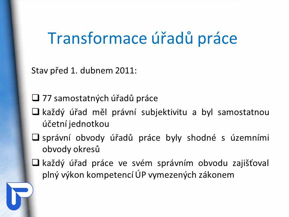 Transformace úřadů práce Stav před 1. dubnem 2011:  77 samostatných úřadů práce  každý úřad měl právní subjektivitu a byl samostatnou účetní jednotk