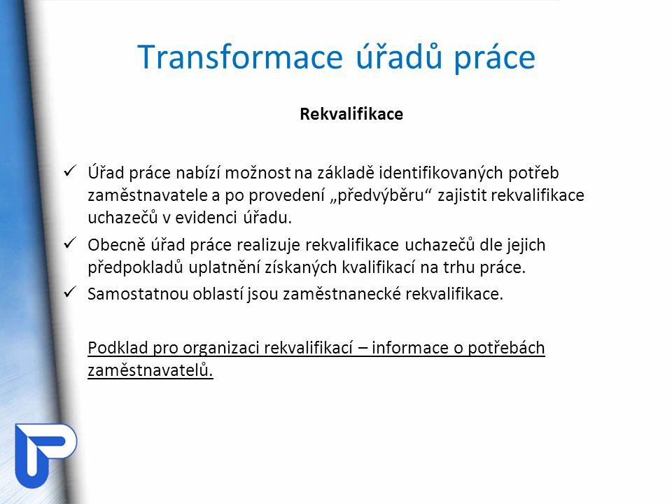 Transformace úřadů práce Rekvalifikace - systém a) dle zaměření  všeobecné – doplnění obecných kvalifikačních předpokladů (např.
