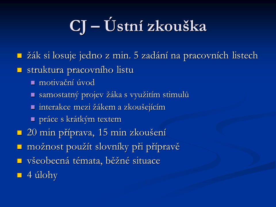 CJ – Ústní zkouška žák si losuje jedno z min. 5 zadání na pracovních listech žák si losuje jedno z min. 5 zadání na pracovních listech struktura praco