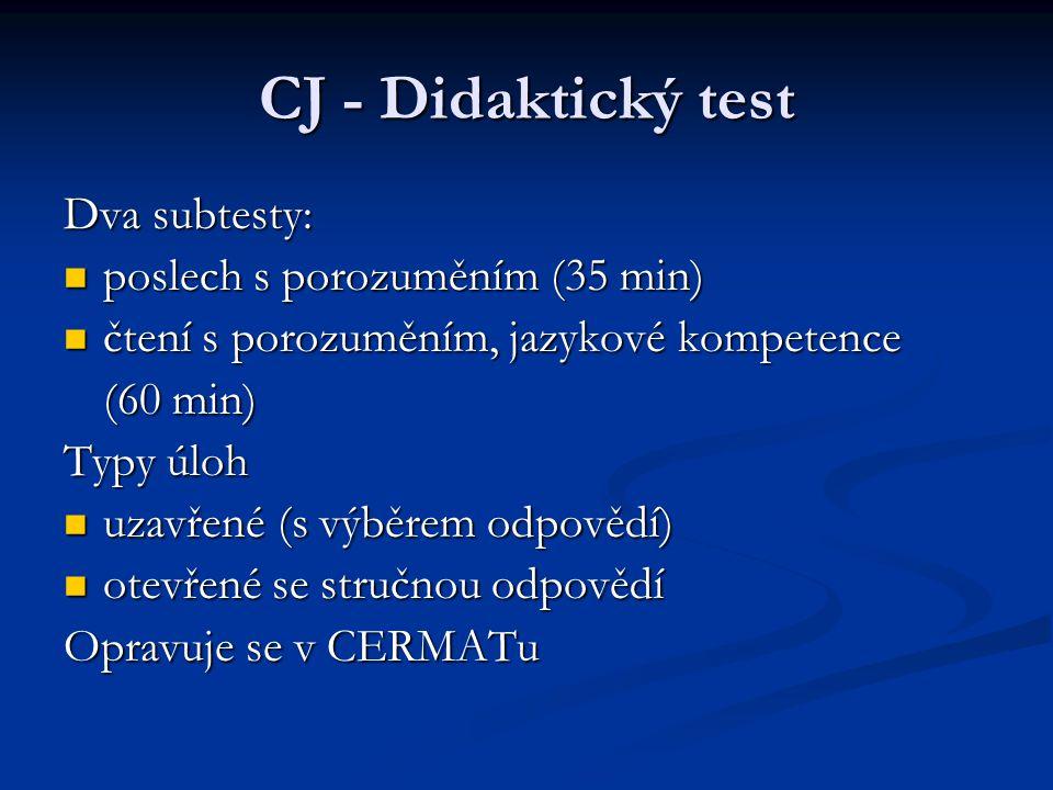CJ - Didaktický test Dva subtesty: poslech s porozuměním (35 min) poslech s porozuměním (35 min) čtení s porozuměním, jazykové kompetence čtení s poro