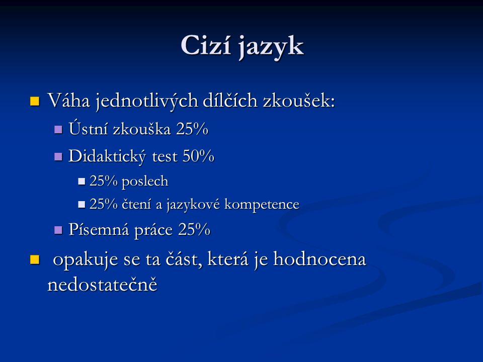 Cizí jazyk Váha jednotlivých dílčích zkoušek: Váha jednotlivých dílčích zkoušek: Ústní zkouška 25% Ústní zkouška 25% Didaktický test 50% Didaktický te