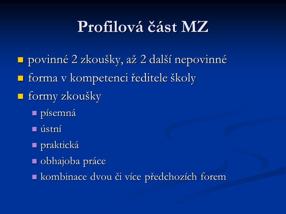Profilová část MZ povinné 2 zkoušky, až 2 další nepovinné povinné 2 zkoušky, až 2 další nepovinné forma v kompetenci ředitele školy forma v kompetenci