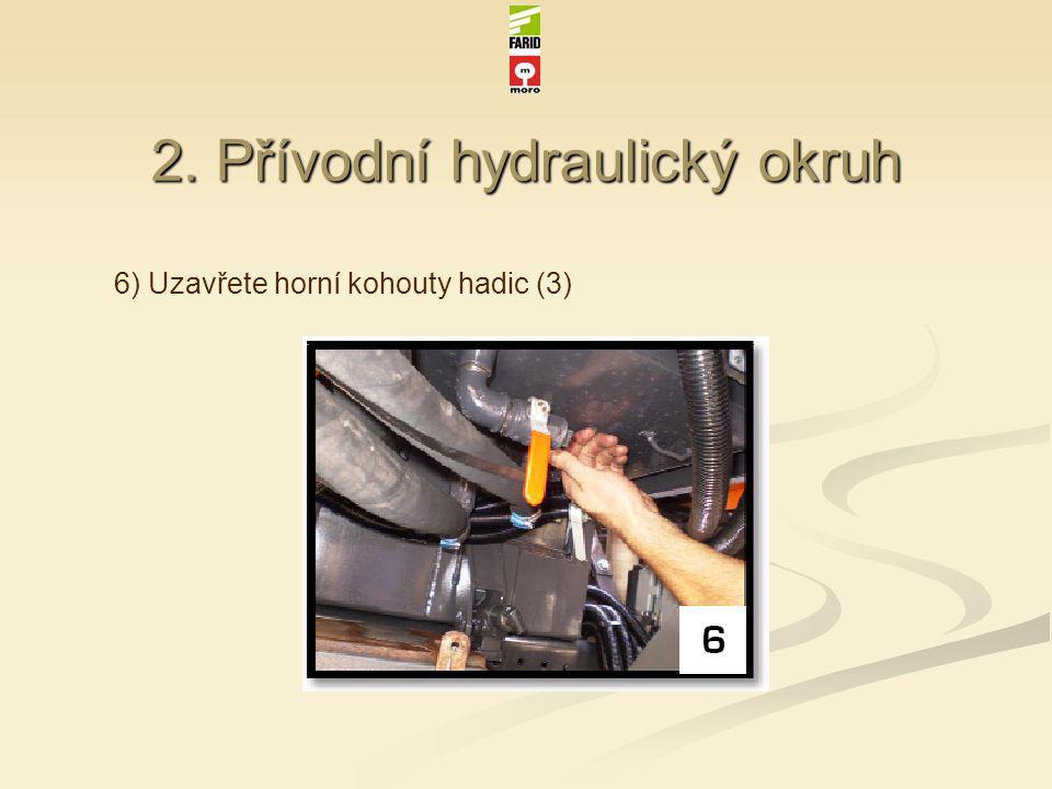2. Přívodní hydraulický okruh 6) Uzavřete horní kohouty hadic (3)