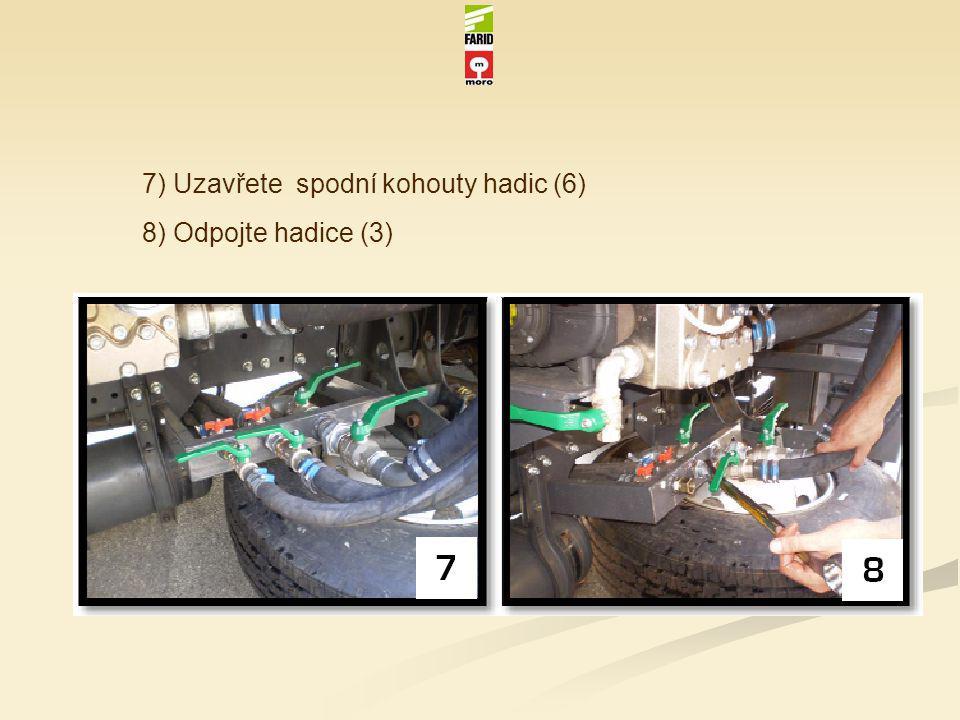 7) Uzavřete spodní kohouty hadic (6) 8) Odpojte hadice (3)