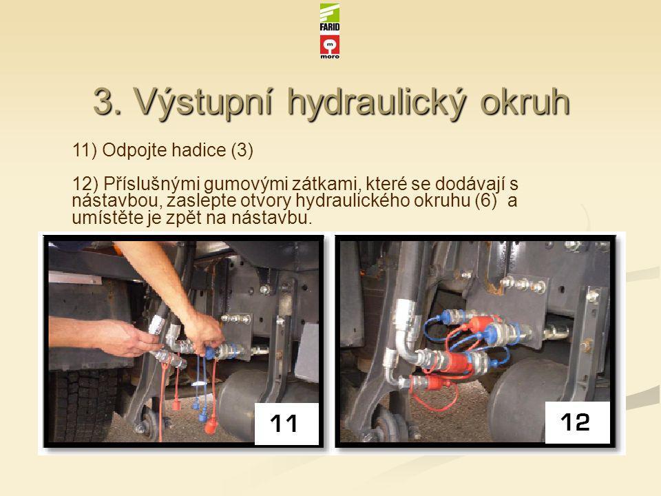 3. Výstupní hydraulický okruh 11) Odpojte hadice (3) 12) Příslušnými gumovými zátkami, které se dodávají s nástavbou, zaslepte otvory hydraulického o