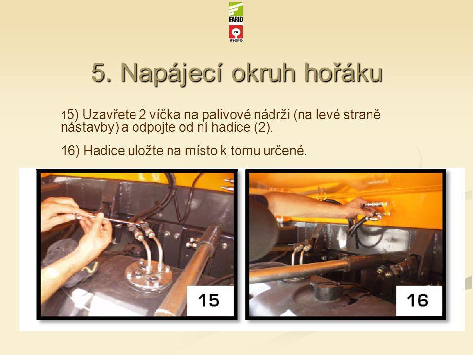 5. Napájecí okruh hořáku 1 5) Uzavřete 2 víčka na palivové nádrži (na levé straně nástavby) a odpojte od ní hadice (2). 16) Hadice uložte na místo k t