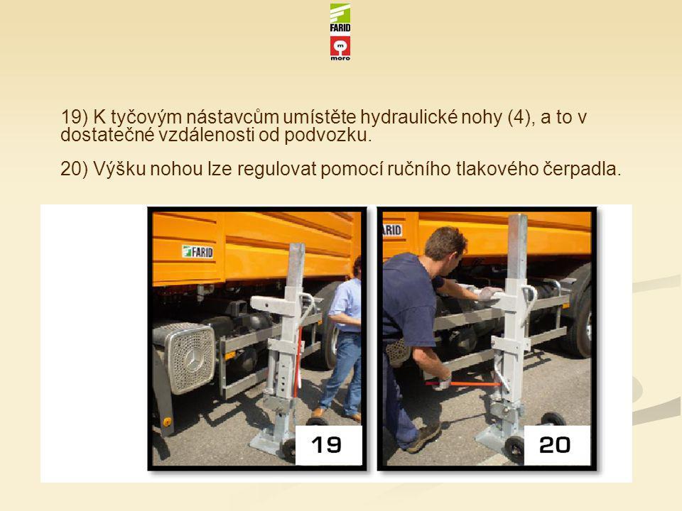 19) K tyčovým nástavcům umístěte hydraulické nohy (4), a to v dostatečné vzdálenosti od podvozku. 20) Výšku nohou lze regulovat pomocí ručního tlakové