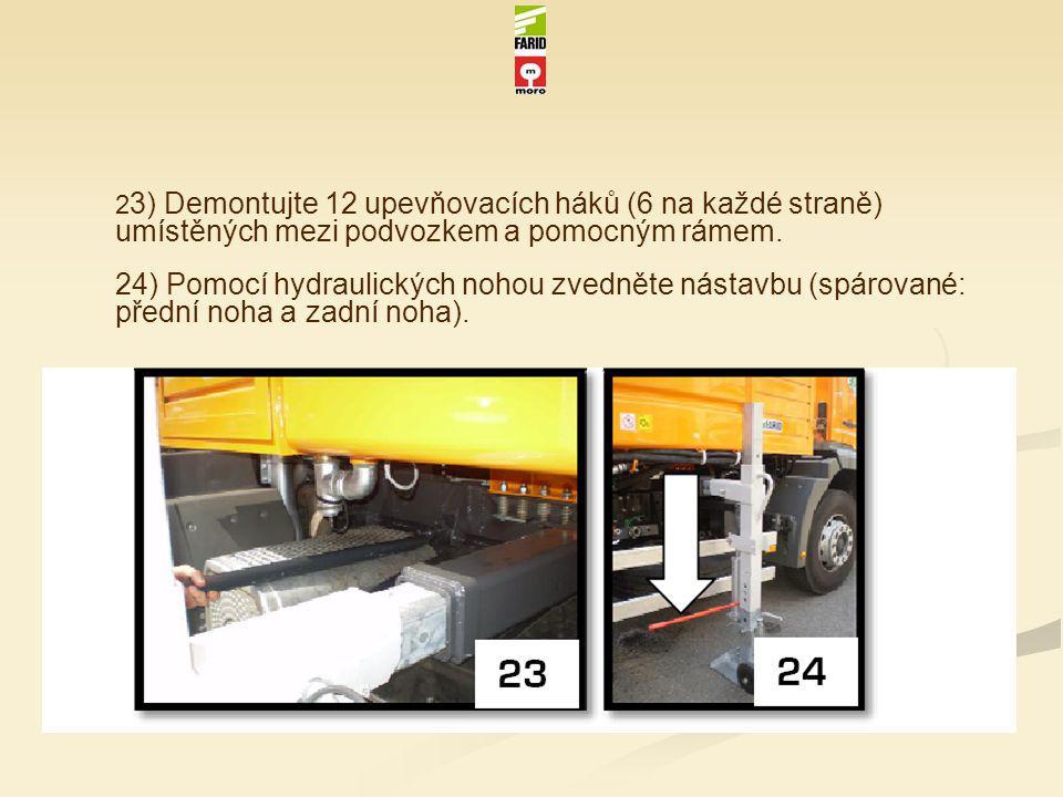 2 3) Demontujte 12 upevňovacích háků (6 na každé straně) umístěných mezi podvozkem a pomocným rámem. 24) Pomocí hydraulických nohou zvedněte nástavbu
