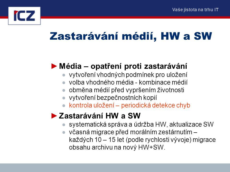 Vaše jistota na trhu IT Zastarávání médií, HW a SW ►Média – opatření proti zastarávání ●vytvoření vhodných podmínek pro uložení ●volba vhodného média
