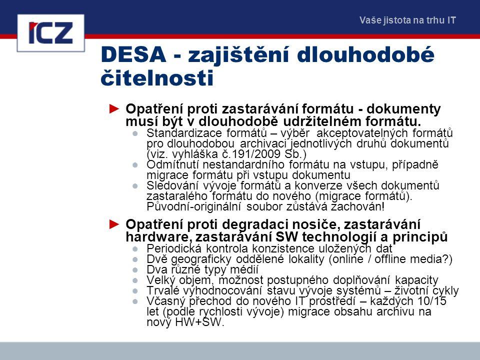 Vaše jistota na trhu IT DESA - zajištění dlouhodobé čitelnosti ►Opatření proti zastarávání formátu - dokumenty musí být v dlouhodobě udržitelném formá
